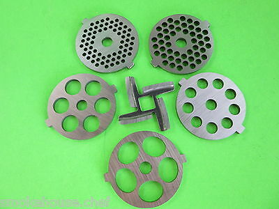 SIX pc New Knife & Meat Grinder discs for Kitchenaid Mixer FGA Chopper attachmnt
