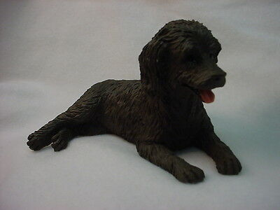 LABRADOODLE Dog Figurine HAND PAINTED Statue CHOCOLATE LABRA DOODLE Brown Puppy