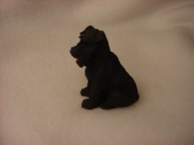 BLACK SCHNAUZER uncropped puppy TiNY FIGURINE Dog MINIATURE Mini resin Statue