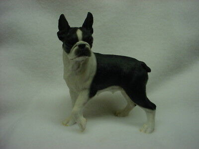 BOSTON TERRIER FIGURINE dog HAND PAINTED Resin Statue COLLECTIBLE Puppy pet NEW