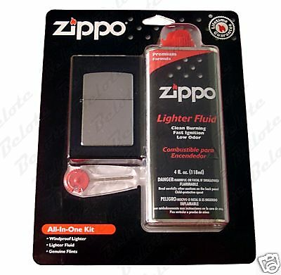 Zippo All In One Kit, Street Chrome 207 Lighter, 6 Flints and 4 oz Fuel, 24651