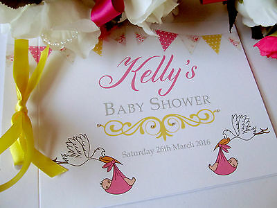 Personalised Baby Shower Guest Book Photo Album Memory Book Bunting Storks Heart