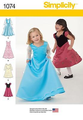 Simplicity Sewing Pattern Child's Princess Party Dresses Dress Size 1/2 - 8 1074