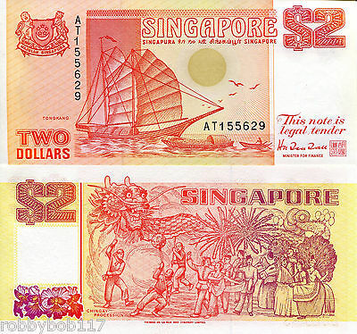 SINGAPORE $2 Dollars Banknote World Money Currency Asia Bill Ship p27 1990 Note