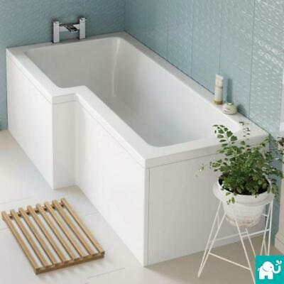L Shaped Shower Bath Glass Shower Screen & Towel Rail Left & Right Hand 1700mm