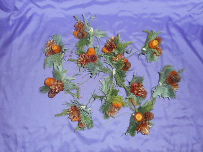 New / Old Stock Plastic Fall Nuts & Pine Cone Floral Arrangement Picks 12