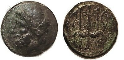 Ancient Greece Hieron II, 275-215 BC, Æ20, Poseidon hd l./Trident, S1223