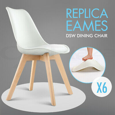 6 x Padded Retro Replica Eames Eiffel DSW Dining Chairs Cafe Kitchen White