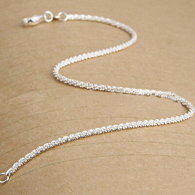 New Women Girls 925 Sterling Silver Plated Shining Chain Anklets Bracelet
