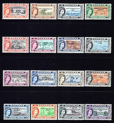 Bahamas 1964 New Constitution Overprints Set 16 Mint Hinged