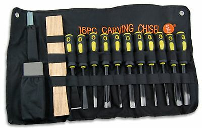 16 Pc Professional Wood Carving Set Chisels Hand Tools w/Cloth Pouch Gouges