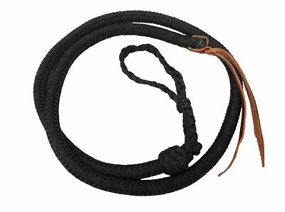 Western Horse Barrel Racing Racer Over And Under Braided Black Nylon Quirt Whip