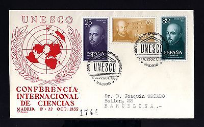 5324-SPAIN-ESPAÑA-REGISTERED COVER MADRID to BARCELONA.1955.unesco.IGNAC.LOYOLA