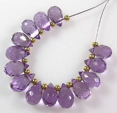 14 GENUINE LILAC BRAZILIAN AMETHYST FACETED DROP BRIOLETTE BEADS 8-9 mm  B19