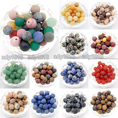 Natural Matte Frosted Gemstone Round Spacer Loose Beads 4mm 6mm 8mm 10mm 12mm