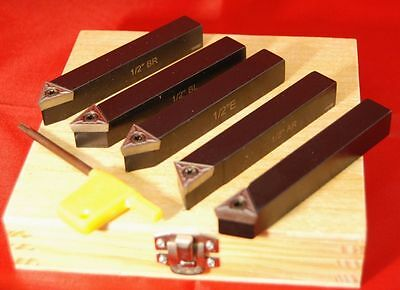 "Set 5 Indexable Lathe Tools 1/2"" Square From Chronos"