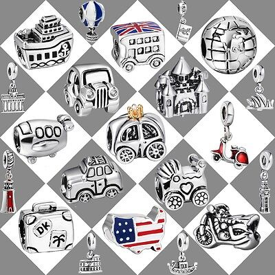 Travel Theme European Bead Charms For Genuine 925 Silver Bracelet Chain Bangle