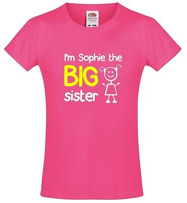 Personalised I'm The Big Sister Girls T-Shirt 3-13 Yrs Funny Custom Gift Present