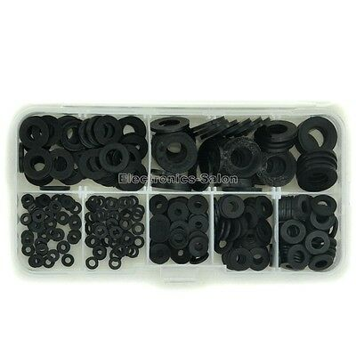 Black Nylon Flat Washer Assortment Kit, for M2 M2.5 M3 M4 M5 M6 M8 Screw/Bolt.