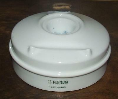 Bel encrier LE PLENUM en porcelaine de Limoges H & C / Antique french Inkwell