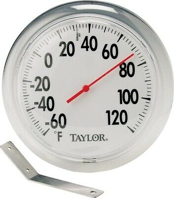 "Taylor 5630 6"" Round Dial Indoor / Outdoor Thermometer w/ Mounting Bracket"