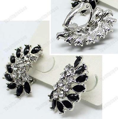 CLIP ON art deco CRYSTAL&BLACK ENAMEL retro EARRINGS silver rhinestone vintage