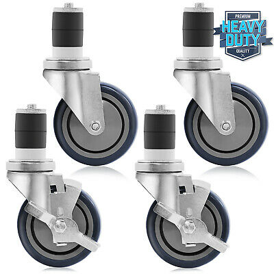 "4"" Caster Wheel Set Kit for Commercial Stainless Kitchen Prep Work Tables"