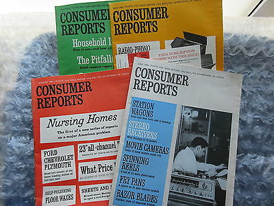 4 Old 1963-65 Consumer Reports Magazines