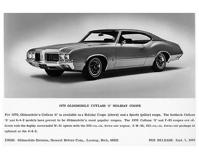 1970 Oldsmobile Cutlass S Holiday Coupe Factory Photo ca3159