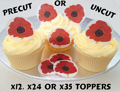 Precut Poppy Rice Wafer Paper Remembrance Day Poppies Cupcake Cake Toppers