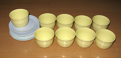 20 Piece Lot Vintage United Airlines Air Lines Blue Plates & Yellow Cups