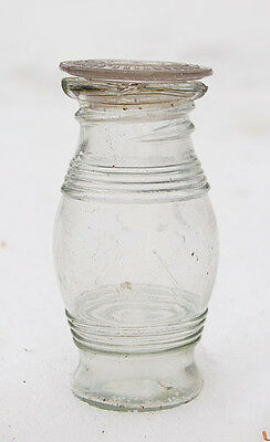 RARE crude GLASS top 1860s FIGURAL BARREL shaped MUSTARD bottle w/INSIDE THREADS