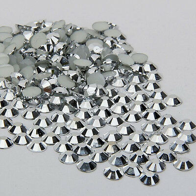 1000Pcs Silver Crystal AB Resin Round Rhinestone Loose Beads Nail Art 2.0mm New