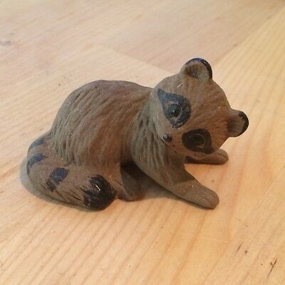Vintage Cute Raccoon Ceramic Figurine Sculpture