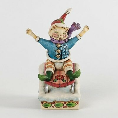 Jim Shore In Purrsuit of Winter Fun Christmas Cat On Sled Figurine 4034392 New