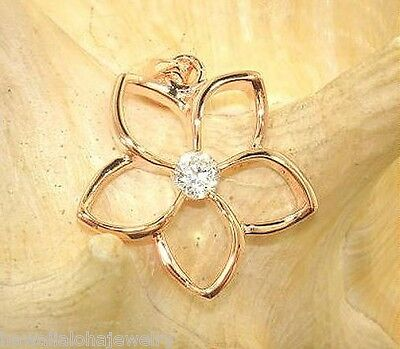 be27f00605 25mm Hawaiian 14k Rose Gold Over Sterling Silver OW Plumeria CZ Pendant #3