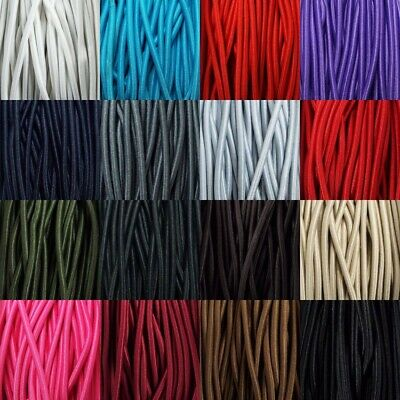 16 COLOUR 3mm Round Elastic Lacing Coat Anorak Bungee Shock Cord BUY 1 2 4 8m+