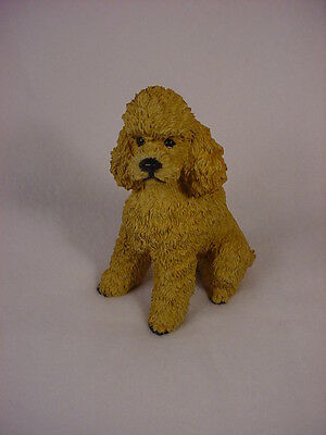APRICOT POODLE dog HANDPAINTED COLLECTIBLE resin FIGURINE Statue Puppy Sport cut