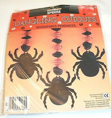 Halloween 3 Spiders Dangling Cutouts Decoration-Brand new in package