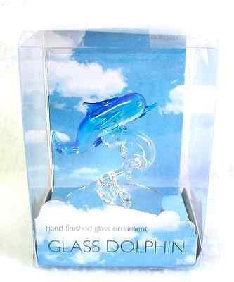 New GLASS DOLPHIN Hand Finished Ornament Aqua & Clear Glass In Box (#1)