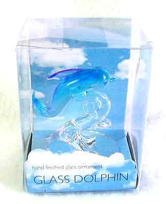 New GLASS DOLPHIN Hand Finished Ornament Aqua & Clear Glass In Box (#2)