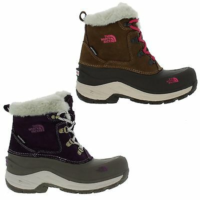 The North Face Mcmurdo Kids Brown Purple Waterproof Walking Ankle Boots Size 3-4