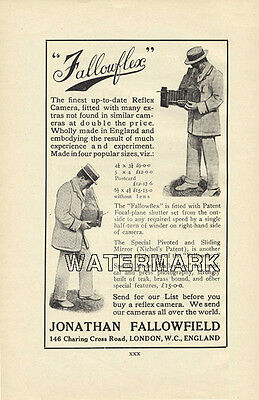 Fallowflex Camera Advertisement, 1910: Original Vintage Ad