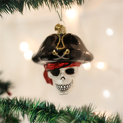 24160 Old World Christmas Jolly Roger Pirate Blown Glass Halloween Ornament