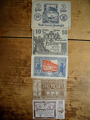 5 different Austria notgeld city issued paper money 1918-21 most uncirculated