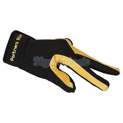 Pro Yellow Black Billiard Pool Snooker Shooters 3 Fingers Glove for Left Hand