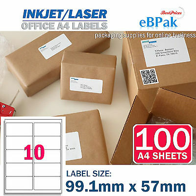 100 x 10 up 99.1 x 57mm Peel Paste Label A4 Office Mailing Address label 10UP