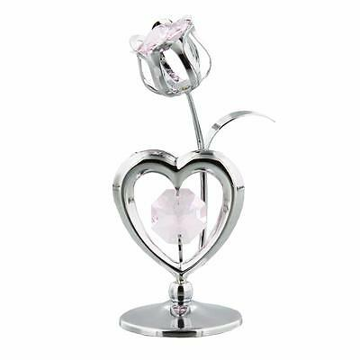 Crystocraft Heart and Flower Gift Ornament With Crystal Gift For Her SP723