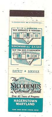 The Nicodemus National Bank Hagerstown MD washington County Matchcover 091715