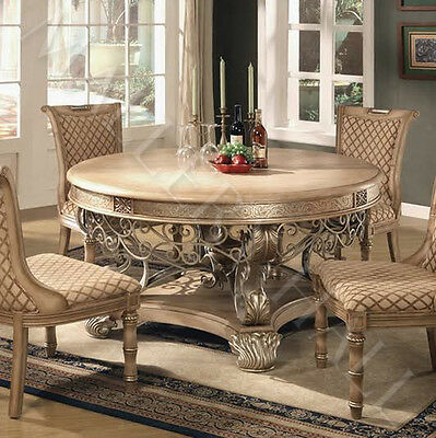 Elegantly Scrolled Base Round Dining Table With 4 Side Upholstered Chairs--Set
